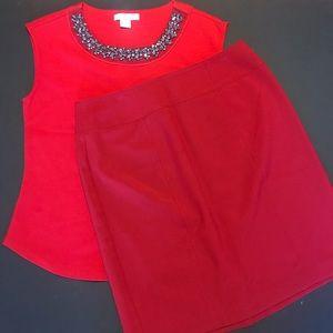 Red Worthington pencil skirt